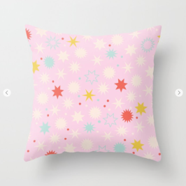 Kodiak Milly Retro Christmas Wrapping Paper Pattern on Society6 - pink pillow