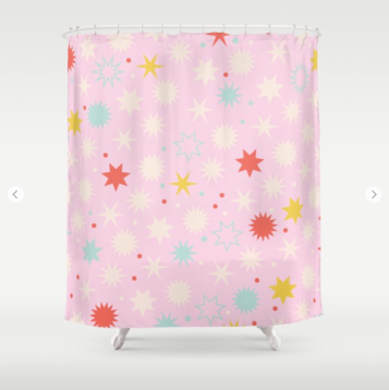 Kodiak Milly Retro Christmas Wrapping Paper Pattern on Society6 - pink shower curtain
