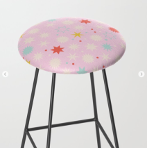 Kodiak Milly Retro Christmas Wrapping Paper Pattern on Society6 - pink stool