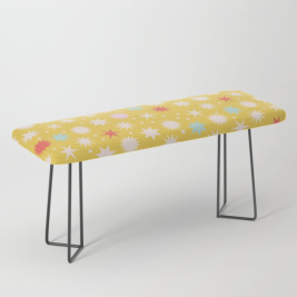 Kodiak Milly Retro Christmas Wrapping Paper Pattern on Society6 - mustard bench