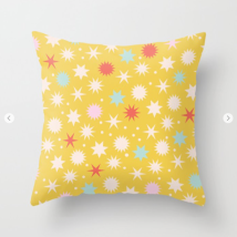 Kodiak Milly Retro Christmas Wrapping Paper Pattern on Society6 - mustard pillow