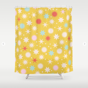 Kodiak Milly Retro Christmas Wrapping Paper Pattern on Society6 - mustard shower curtain