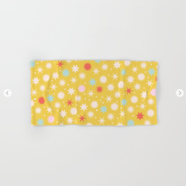 Kodiak Milly Retro Christmas Wrapping Paper Pattern on Society6 - mustard hand towel