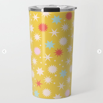 Kodiak Milly Retro Christmas Wrapping Paper Pattern on Society6 - mustard travel mug
