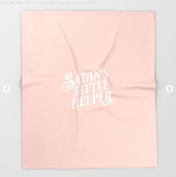 Satans little helper Kodiak Milly on Society6 throw blanket