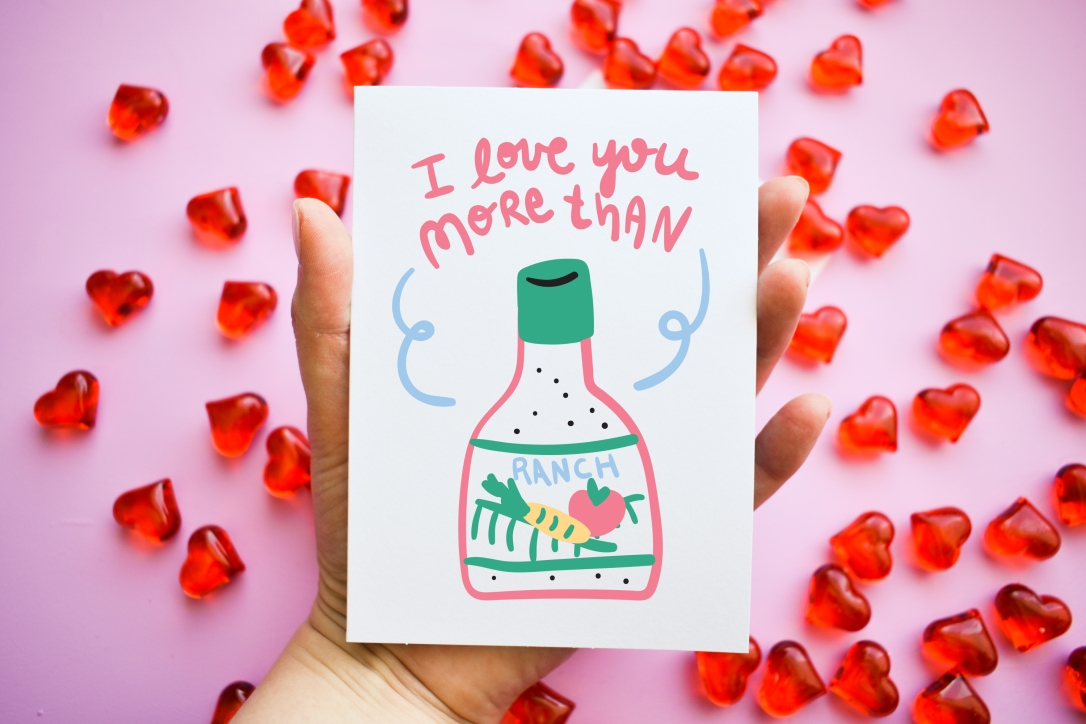 Funny Valentine's Day Card by Kodiak Milly - I Love You More Than Ranch