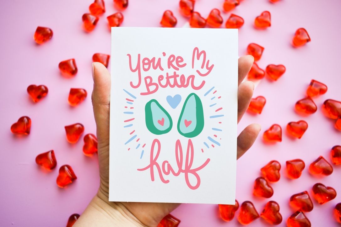 Funny Valentine's Day Card - You're My better Half - Avocado by Kodiak Milly on Etsy