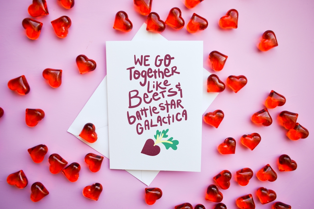 Funny Valentine's Day Card - We Go Together Like Beets and Battlestar Galactica - The Office inspired - by Kodiak Milly on etsy